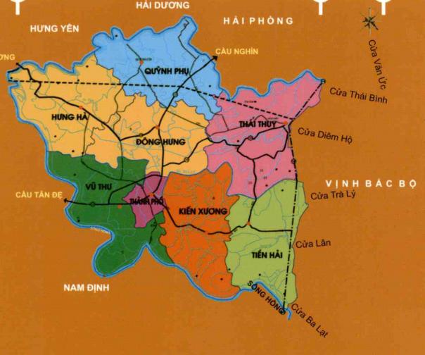 Bản đồ hành chính tỉnh Thái Bình